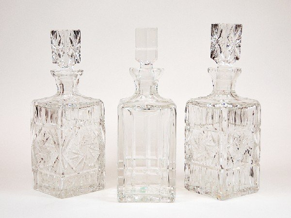 11: Lot of Three Cut Crystal Whiskey Decanters Height 1