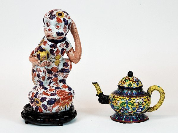 13: Reproduction Ming Dynasty Cloisonne Teapot and Imar