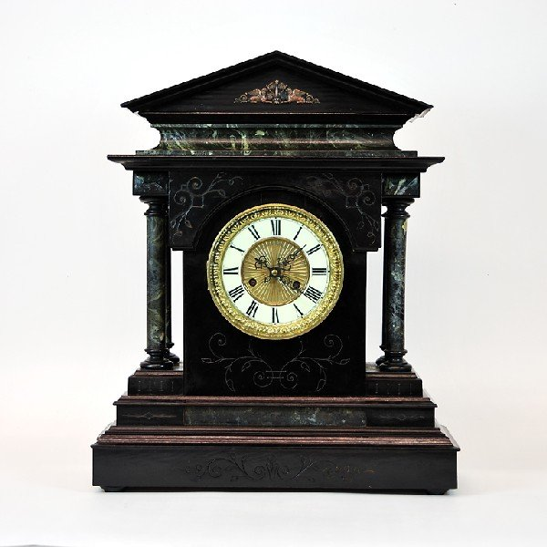 """19: Wood and Faux Marble Painted Mantel Clock with a 7"""""""
