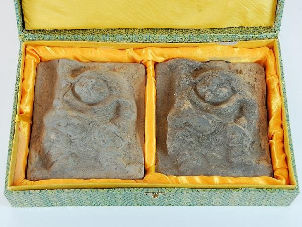24: Pair of Han Dynasty Style Terracotta Cast Markers H