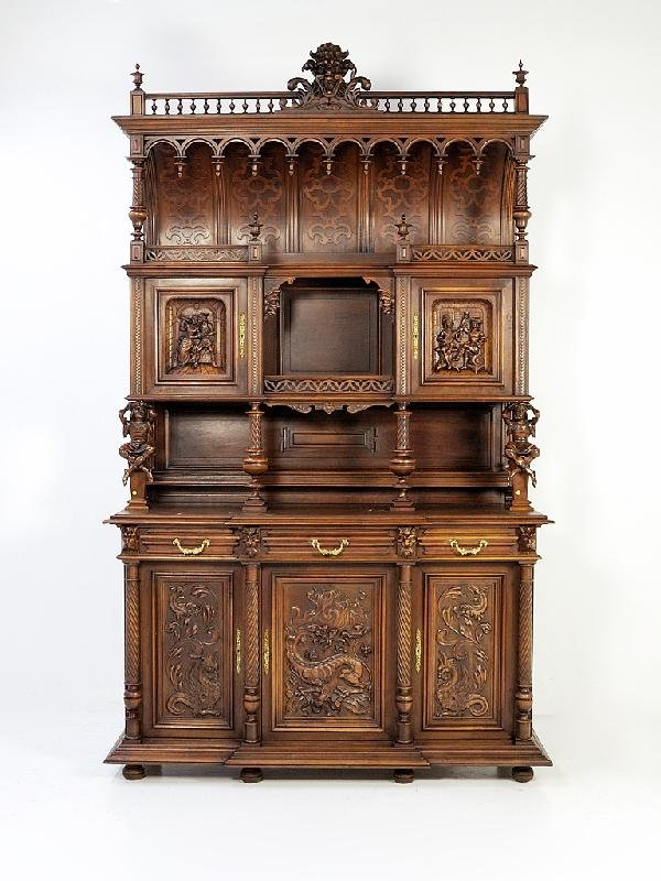 133: Henry II Walnut Cathedral Buffet Height 111 in; wi