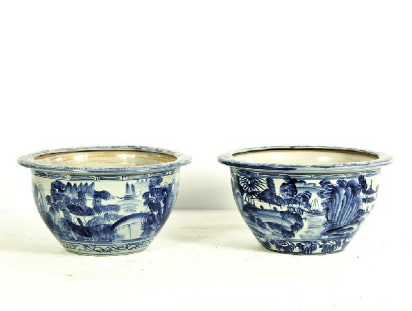 5: Pair of Blue and White Glazed Bowls