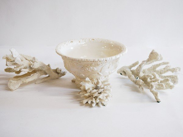 13: Group of White Coral and Ceramic Lace Trim Bowl