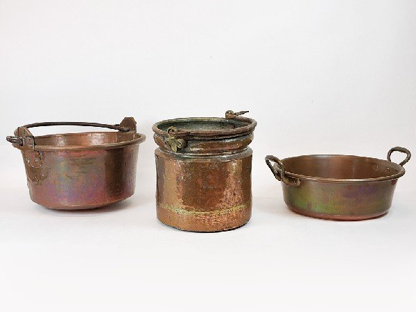 19: Group of Three Copper Pots