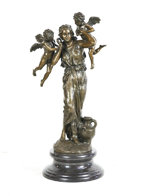 24: Bronze Nymph with Cherubs on Marble Base