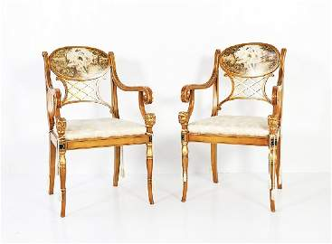57: Pair of Empire Style Armchairs with Painted Backs a