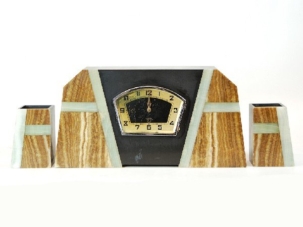 2: Stone Front Art Deco Mantel Clock Flanked by Matchin