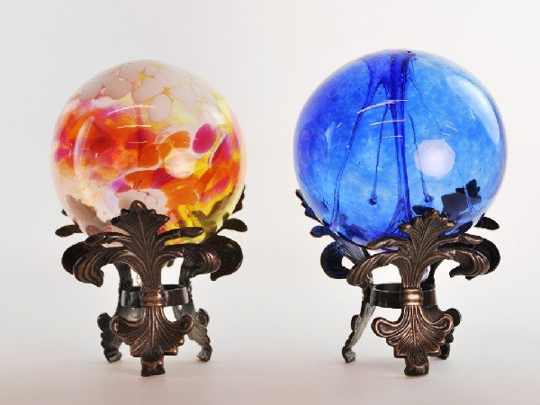 3: Pair of Hand Blown Glass Balls on Decorative Stands