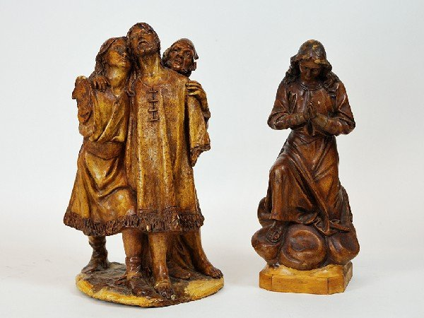 4: Pair of Stained Wood Figurines