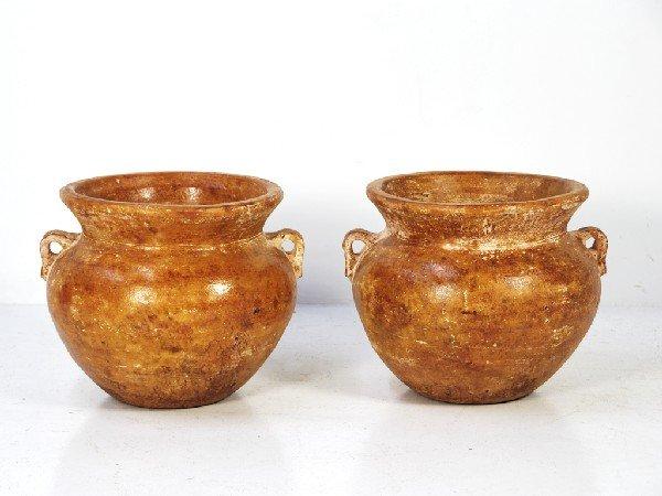6: Pair of Burnt Orange Terracotta Planters