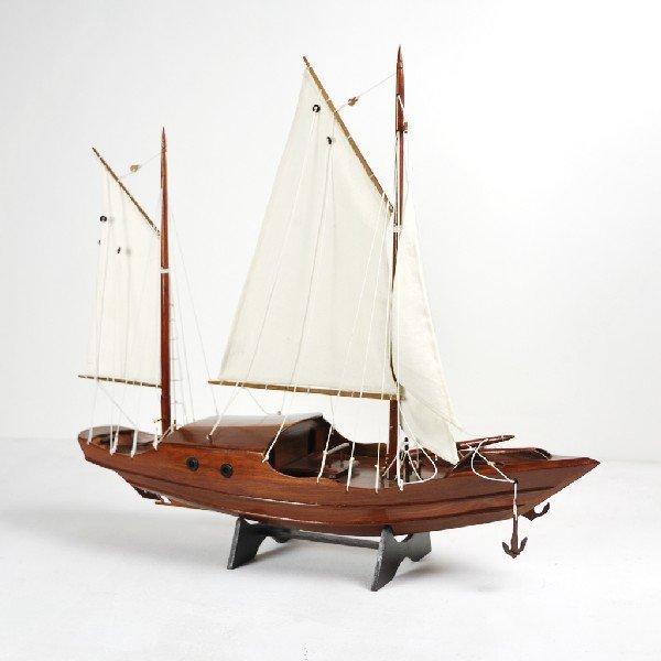 16: Handmade Mahogany Three Mast Sailing Ship