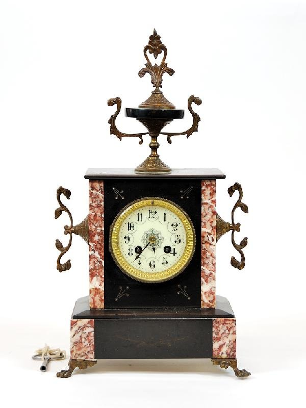 17: Bronze and Marble French Mantle Clock