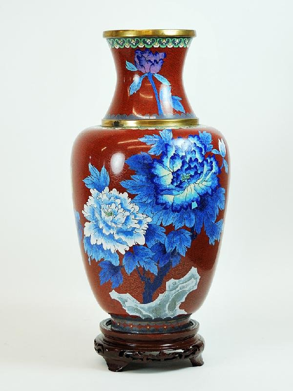 18: Cloisonne Vase on Stand