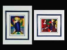 30 LeKinff Linda Two Untitled Works Serigraphs in Co