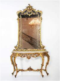 78: Louis XV Gilded Console Table and Mirror