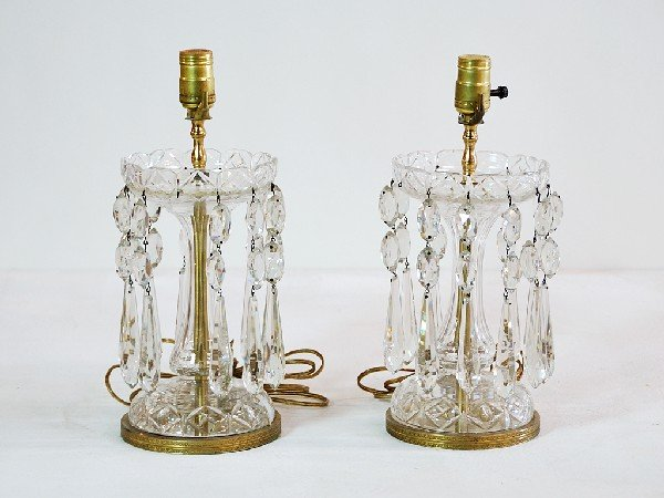 8: Pair of Crystal Luster Style Lamps