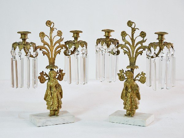 8A: Pair of Crystal and Brass Candleholders