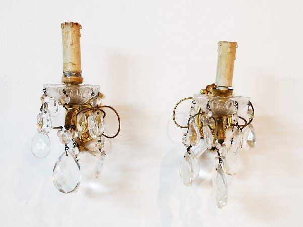 8B: Bronze and Crystal One Light Sconces
