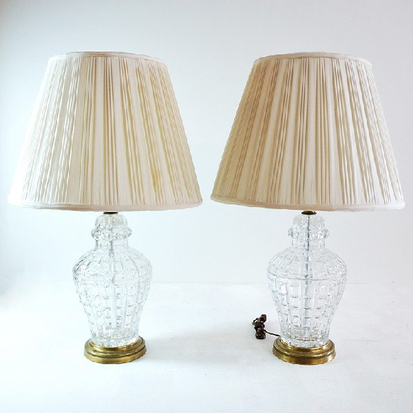 17: Pair of Cut Crystal Lamps with Brass Bases, Nicolet