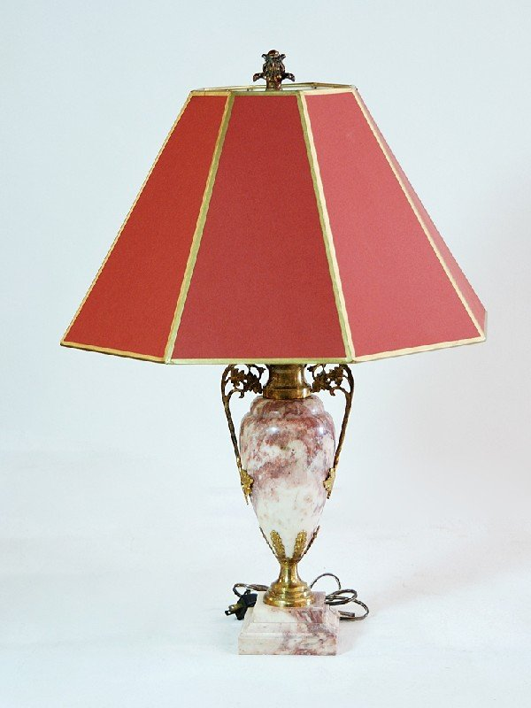18: Brass and Pink Marble Urn Style Lamp