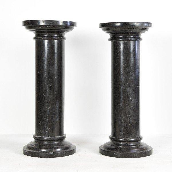19: Pair of Black Marble Pedestals