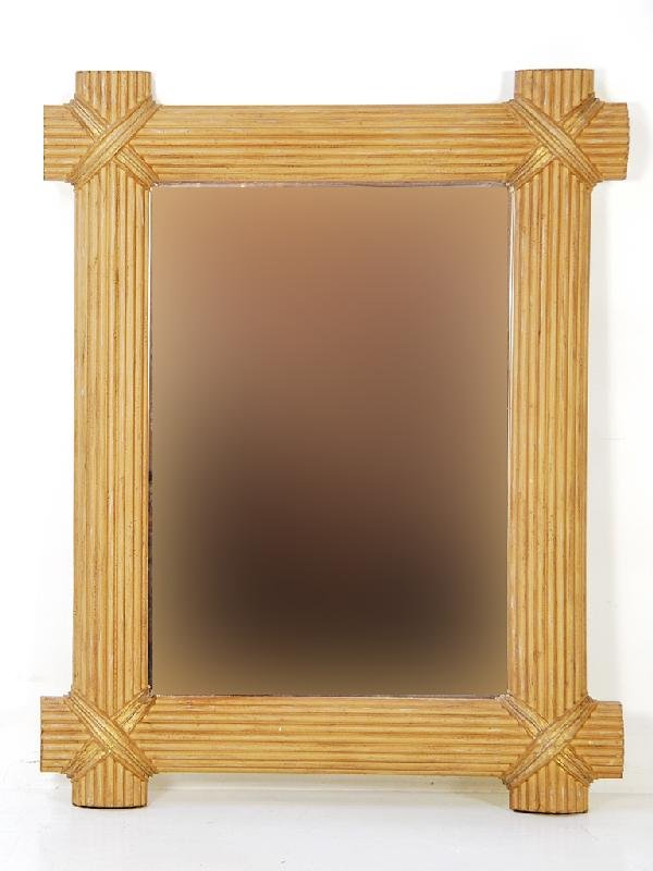21: Faux Reed Frame Beveled Mirror