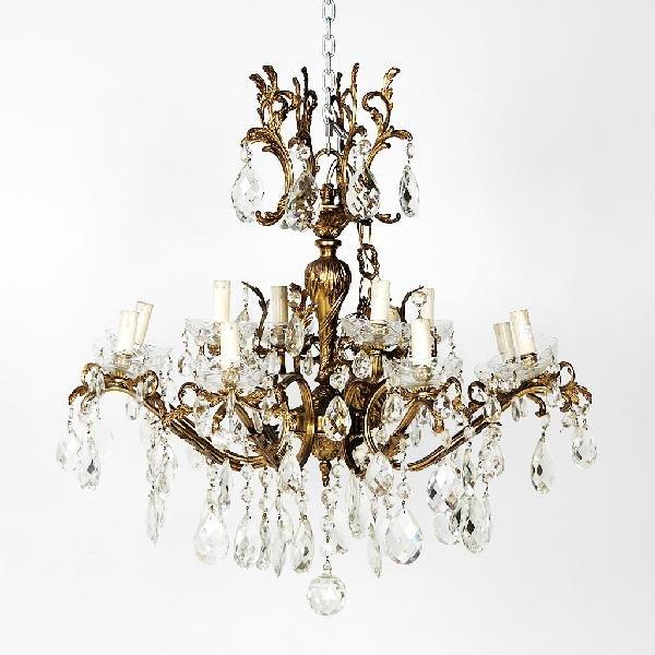 58: Bronze and Crystal Twelve Light Chandelier