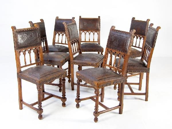 124: Eight Henry II Chairs with Tooled Leather Seats