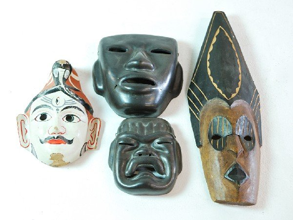 1: Pair of Mexican Ceramic Masks, a Mexican Wood Mask a