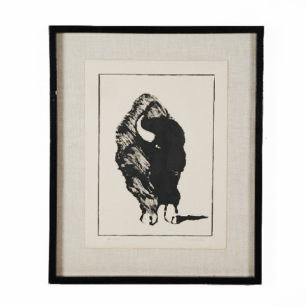 9: SCHRODER (possibly), Buffalo Sketch, Lithograph, 20