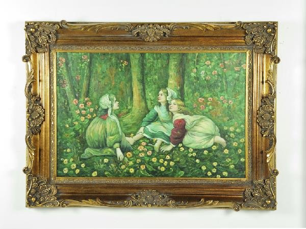 10: Three Sisters, Framed Oil on Canvas, Height 34 1/2