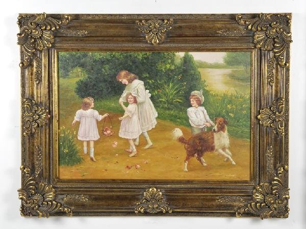 11: Siblings, Framed Oil on Canvas, Height 37 in; width