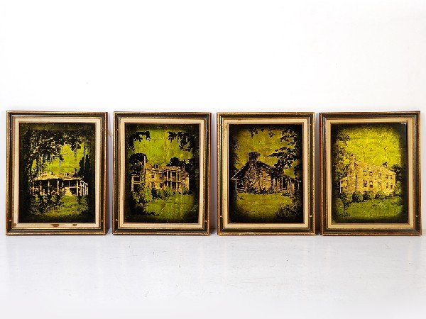 15: A Collection of 4 Jack White Gold Leaf Paintings