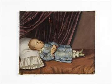 17: American Primitive, Resting Child, Oil on Canvas, H
