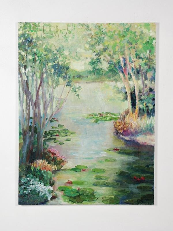 18: Pauline Sims, Landscape with Waterlillies, Oil on C