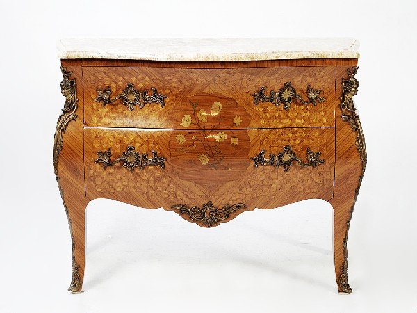 55: Louis XV Rosewood Two Drawer Chest with  Marble Top