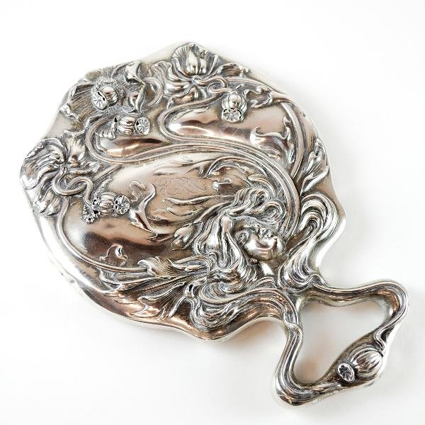 35: Sterling SIlver Art Nouveau Monogramed Beveled Hand