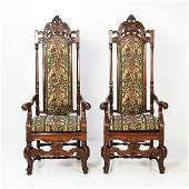 124: Pair of 19th Century Louis XIII Upholstered Chairs