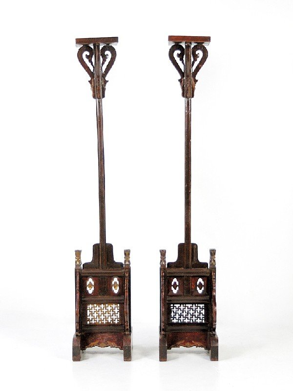 22: A PAIR OF CHINESE TEMPLE STANDS Nineteenth Century