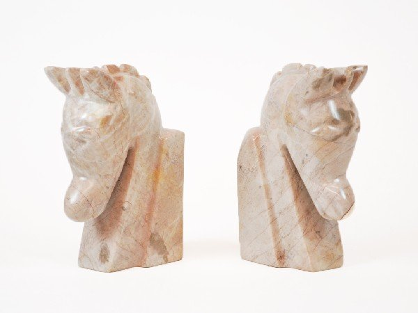 """1: Pair of Marble """"Horse"""" Bookends"""