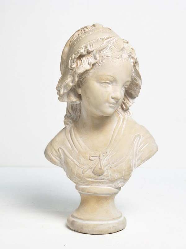 3: Signed and Marked Paris, Female Bust, Cast Plaster,