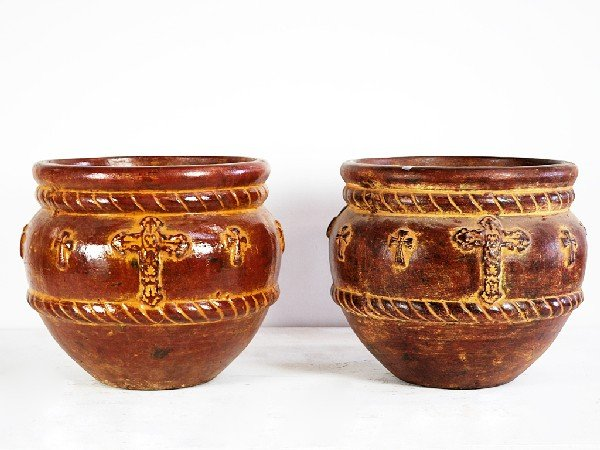 7A: Pair of Terracotta Planters with Cross Design