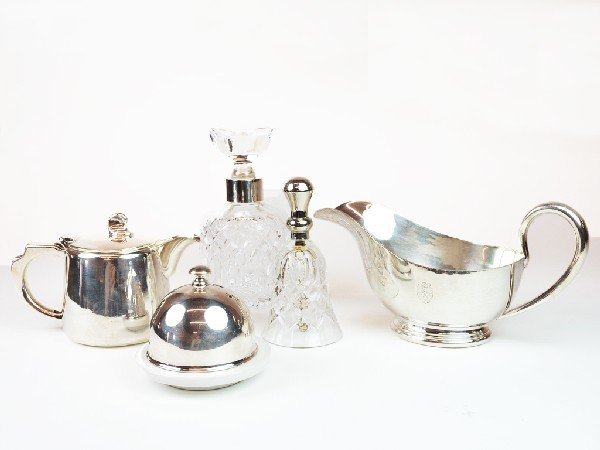 13: Group of Crystal and Silverplate