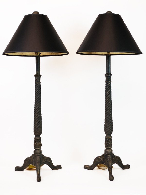 16: Pair of Claw Feet Pedestal Lamps with Black Shades