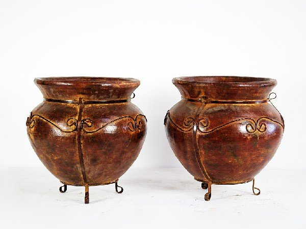 16A: Pair of Terracotta Planter with Decorative Scroll