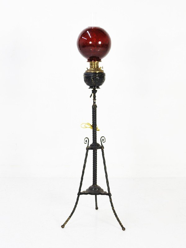 18: Painted Brass Floor Lamp with Hand-blown Ruby Glass