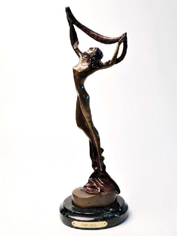 18: D.H. CHIPARUS, Nude figure with drapery, bronze, 8