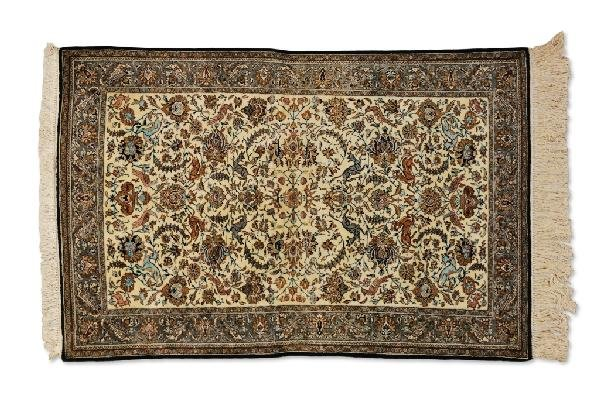 "12: A SILK QUM CARPET, Central Persia, Circa 1950, ""Ras"