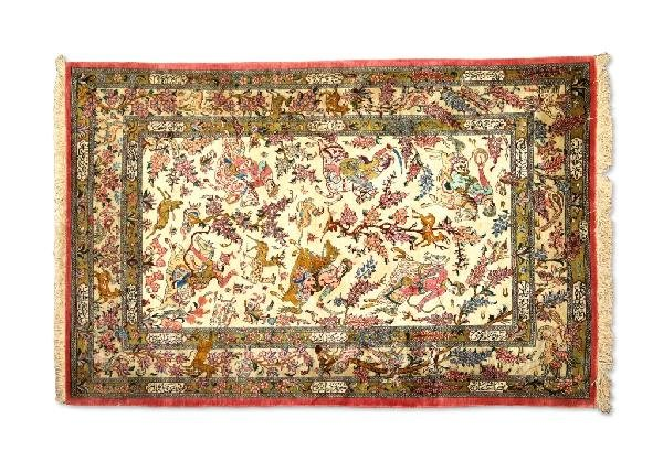 "18: A VERTICAL ""HUNTING SCENE"" QUM CARPET, Central Pers"