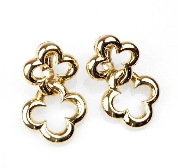 22: 18K DOUBLE CLOVER DROP EARRINGS BY JEAN VITAU, from